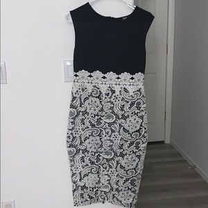 Black and white lace sleeveless dress